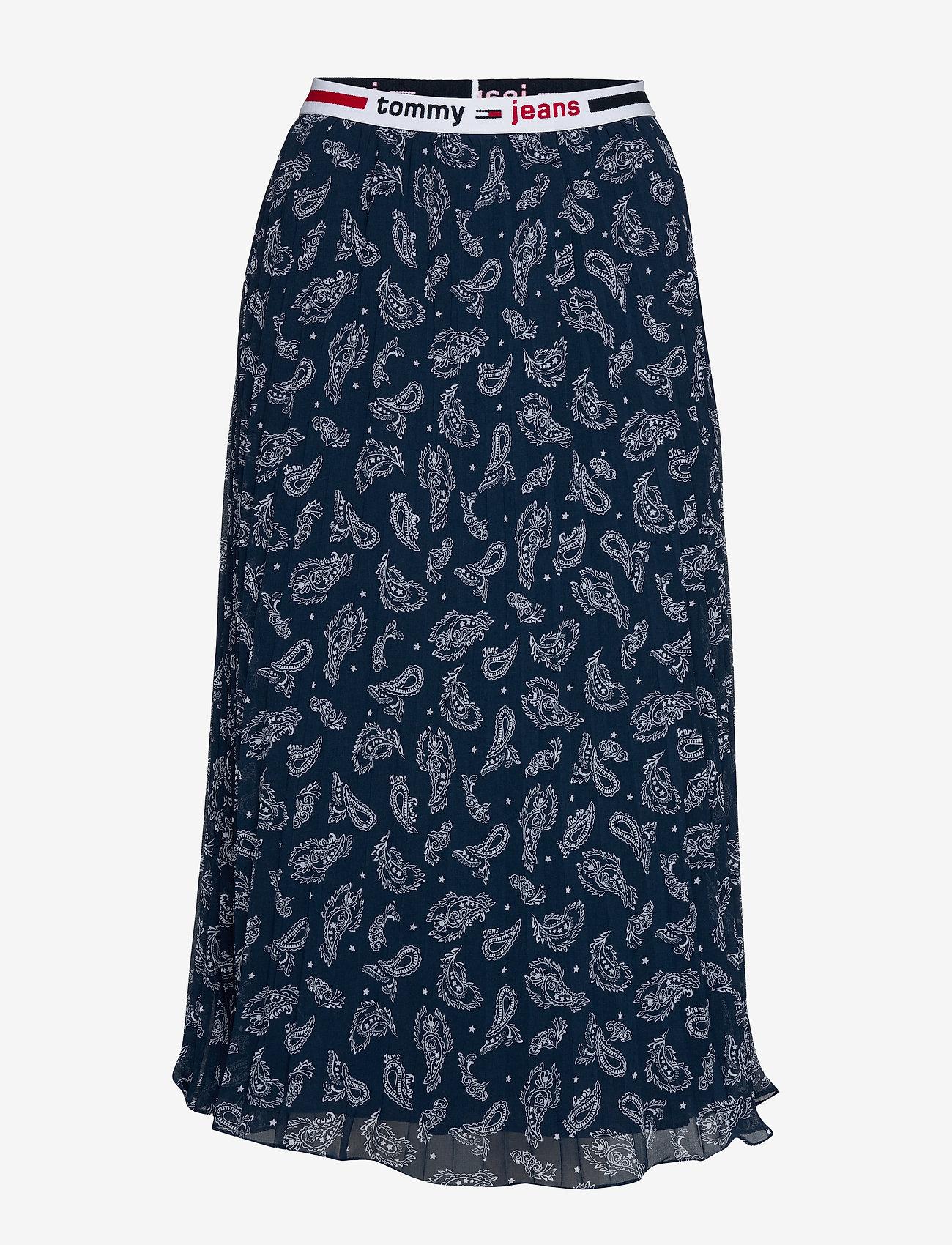 Tommy Jeans - TJW PLEATED MIDI SKIRT - midi kjolar - paisley print / twilight navy - 0