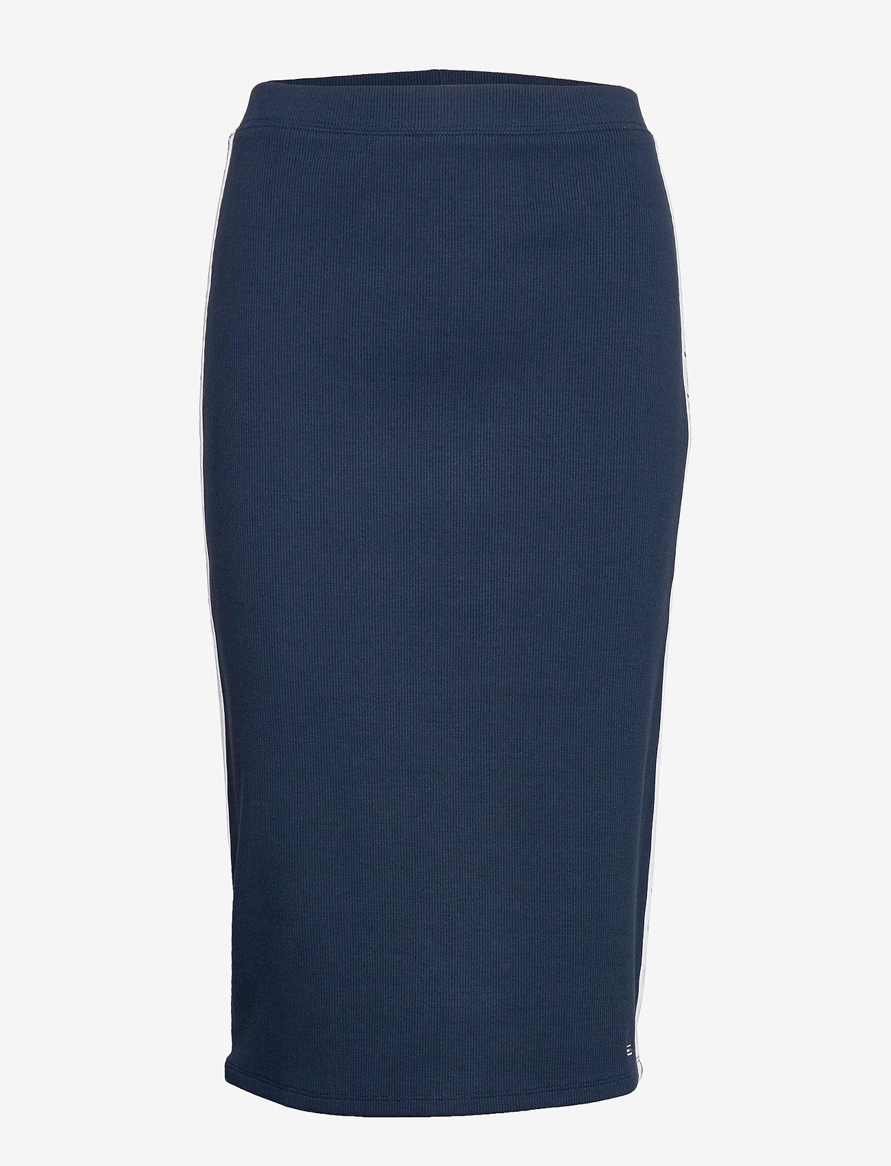 Tommy Jeans - TJW TAPE DETAIL RIB - midi skirts - twilight navy - 0
