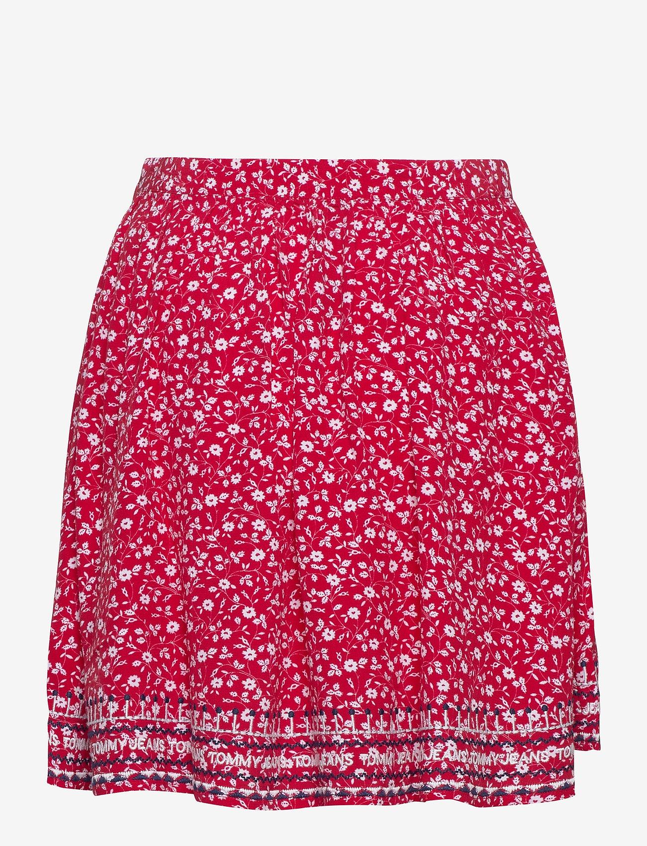 Tommy Jeans - TJW EMBROIDERY DETAI - jupes courtes - floral print / deep crimson - 1