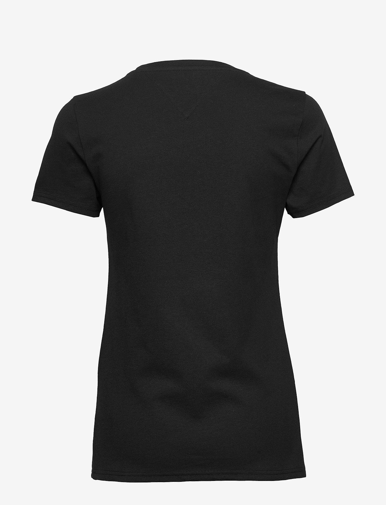 Tommy Jeans - TJW METALLIC OUTLINE FLAG TEE - t-shirts - black - 1