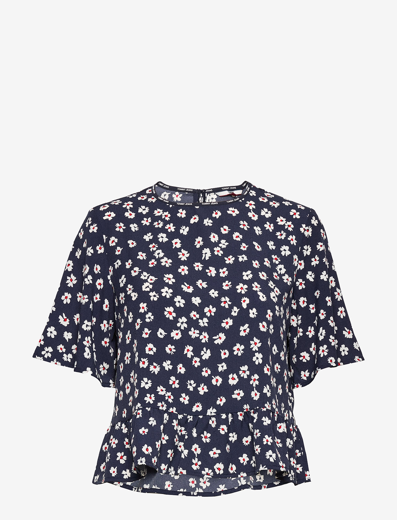 Tommy Jeans - TJW PRINTED PEPLUM TOP - short-sleeved blouses - floral print / twilight navy - 0