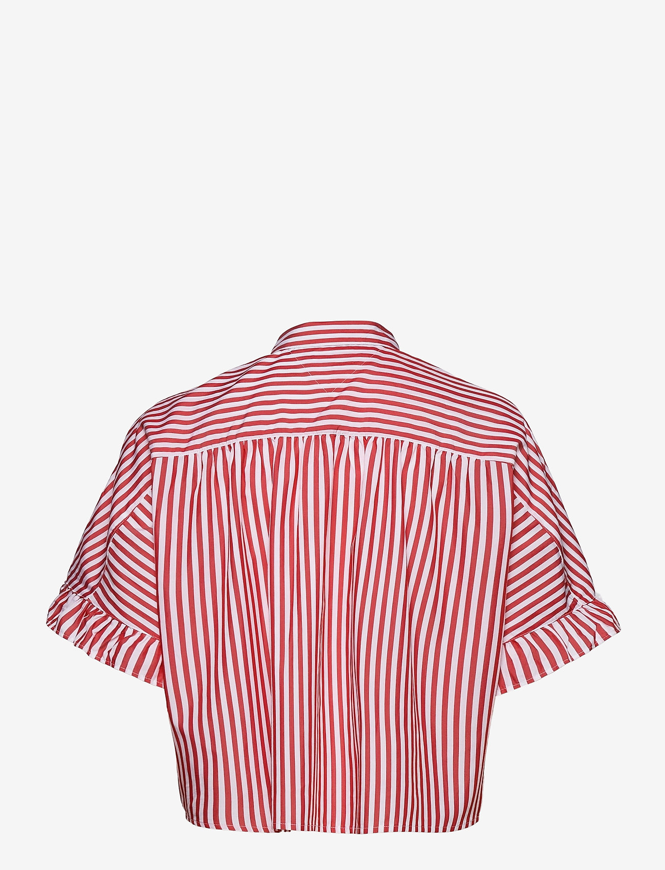 Tommy Jeans - TJW STRIPED FRILL SLEEVE BLOUSE - overhemden met korte mouwen - deep crimson / white - 1