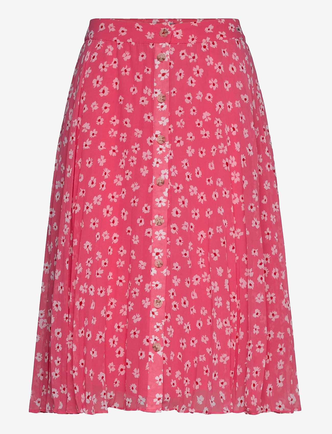 Tommy Jeans - TJW PLEATED BUTTON THRU SKIRT - midi skirts - floral print / glamour pink - 0