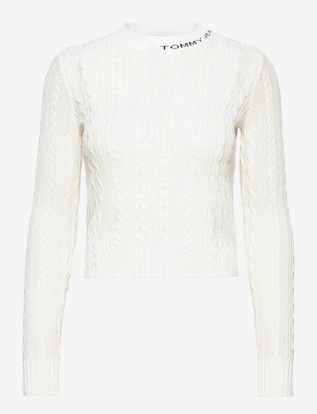 Tommy Jeans - TJW BRANDED NECK CABLE SWEATER - tröjor - snow white - 0