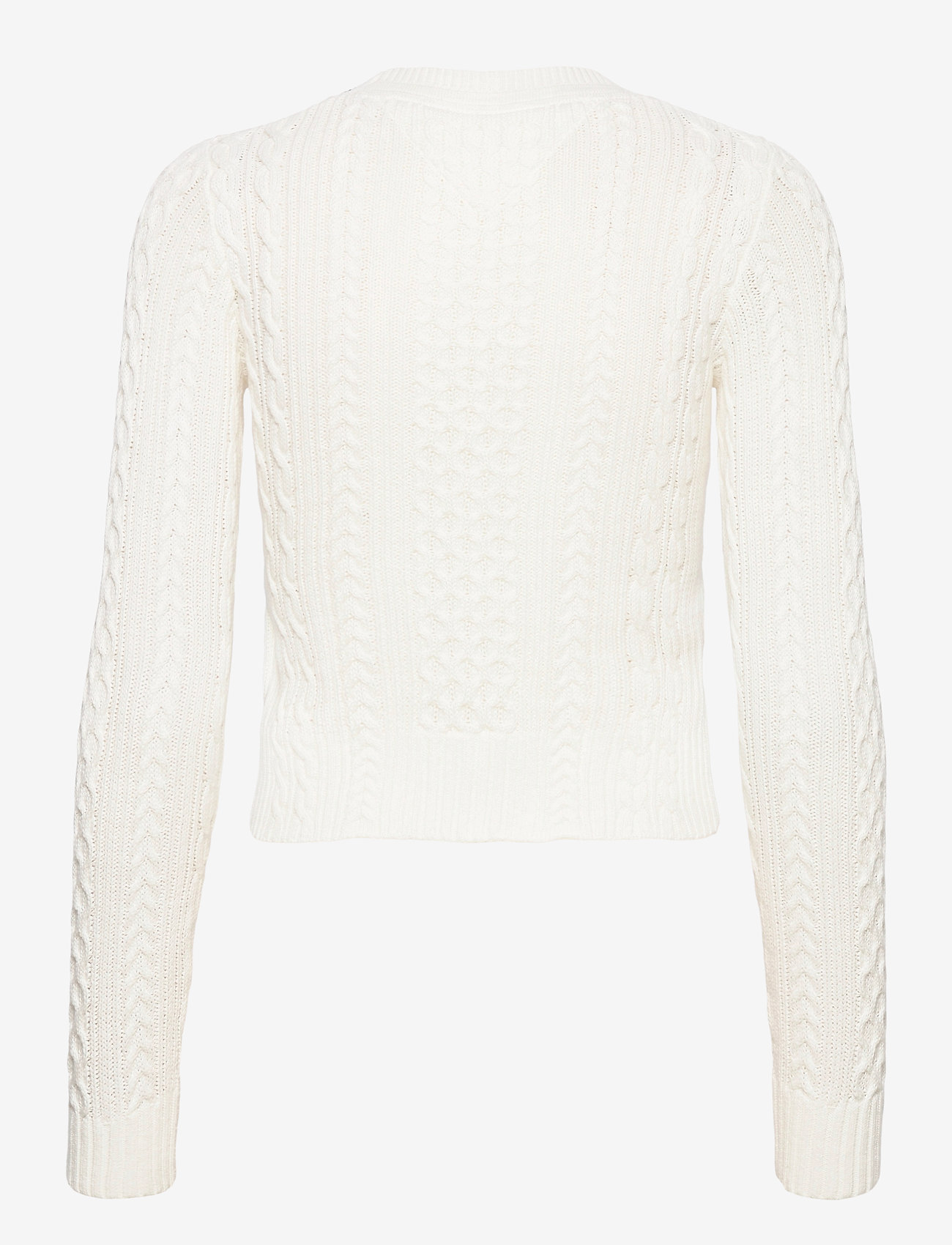Tommy Jeans - TJW BRANDED NECK CABLE SWEATER - tröjor - snow white - 1