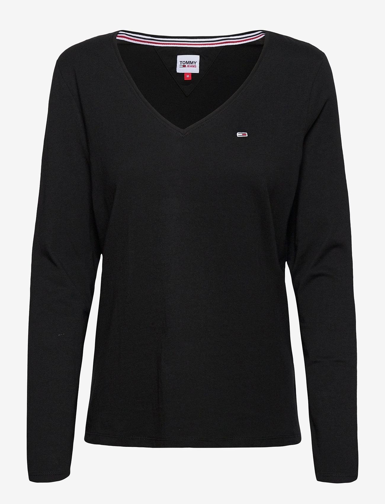 Tommy Jeans - TJW JERSEY V NECK LONGSLEEVE - long-sleeved tops - black - 0