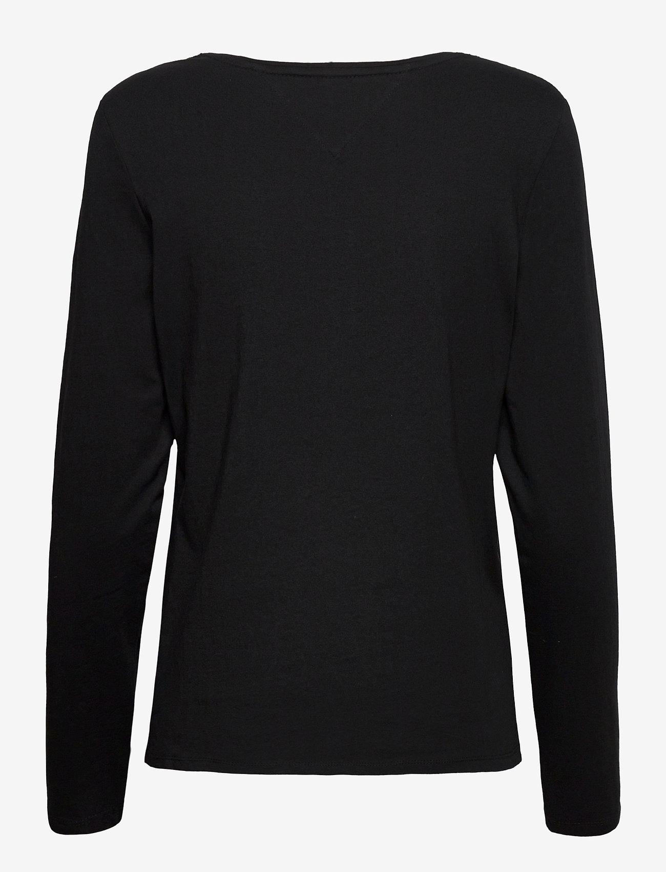 Tommy Jeans - TJW JERSEY V NECK LONGSLEEVE - long-sleeved tops - black - 1
