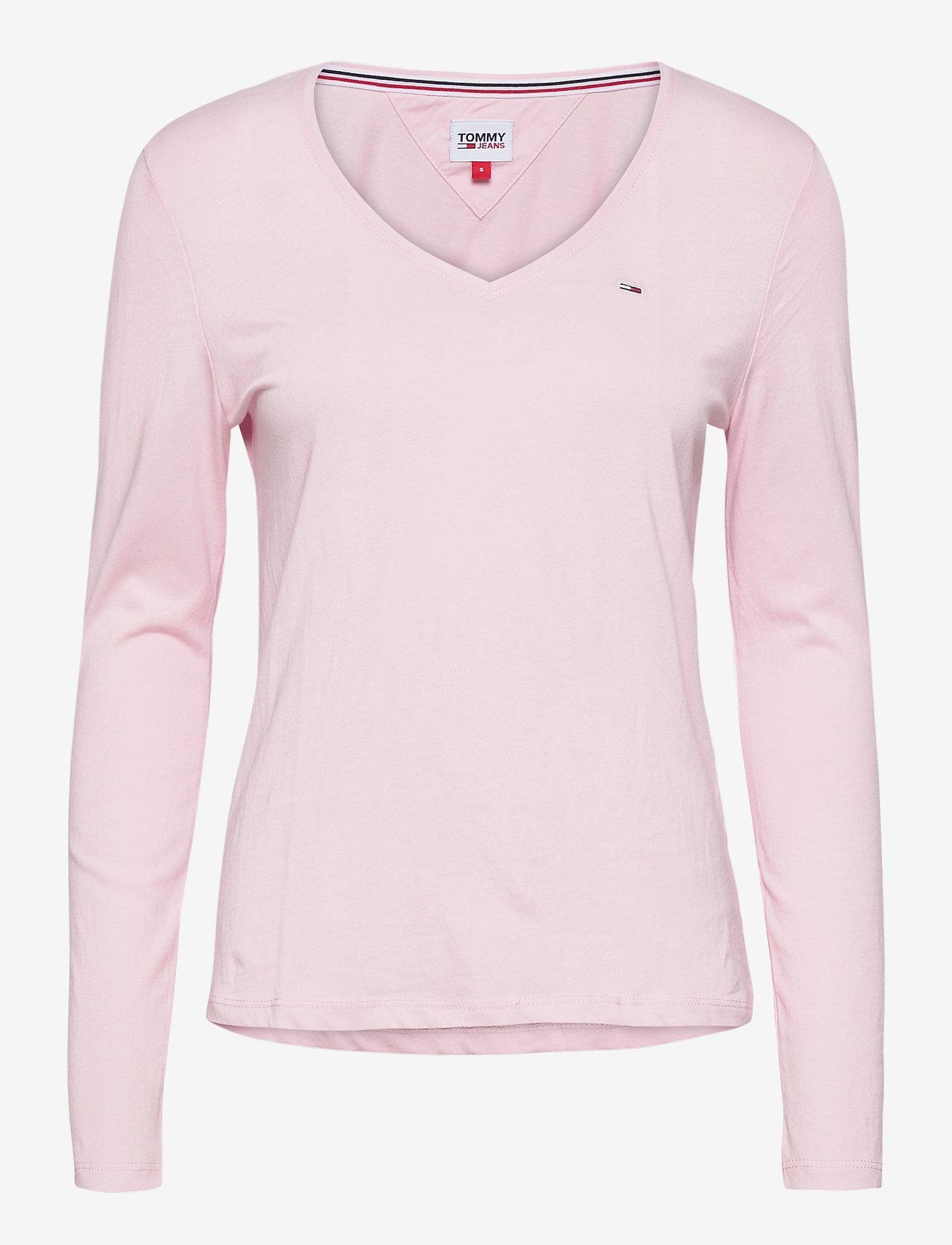 Tommy Jeans - TJW JERSEY V NECK LONGSLEEVE - long-sleeved tops - romantic pink - 0
