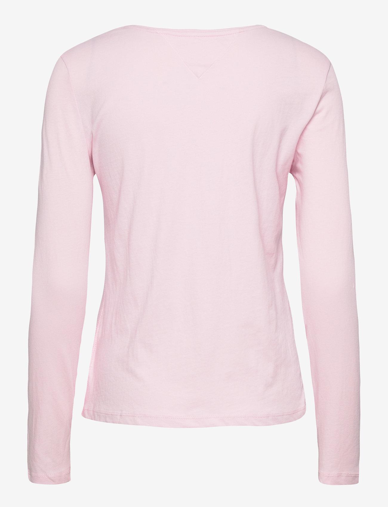 Tommy Jeans - TJW JERSEY V NECK LONGSLEEVE - long-sleeved tops - romantic pink - 1