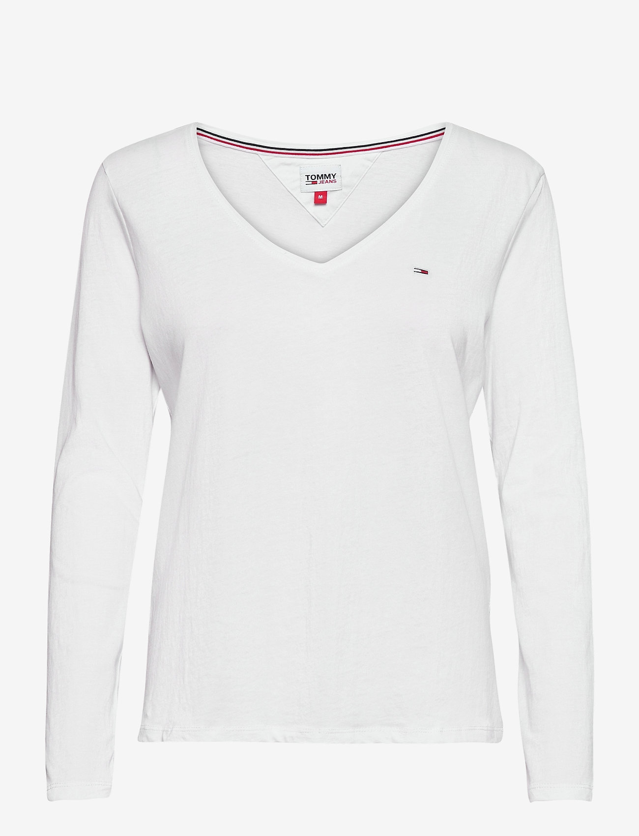 Tommy Jeans - TJW JERSEY V NECK LONGSLEEVE - long-sleeved tops - white - 0