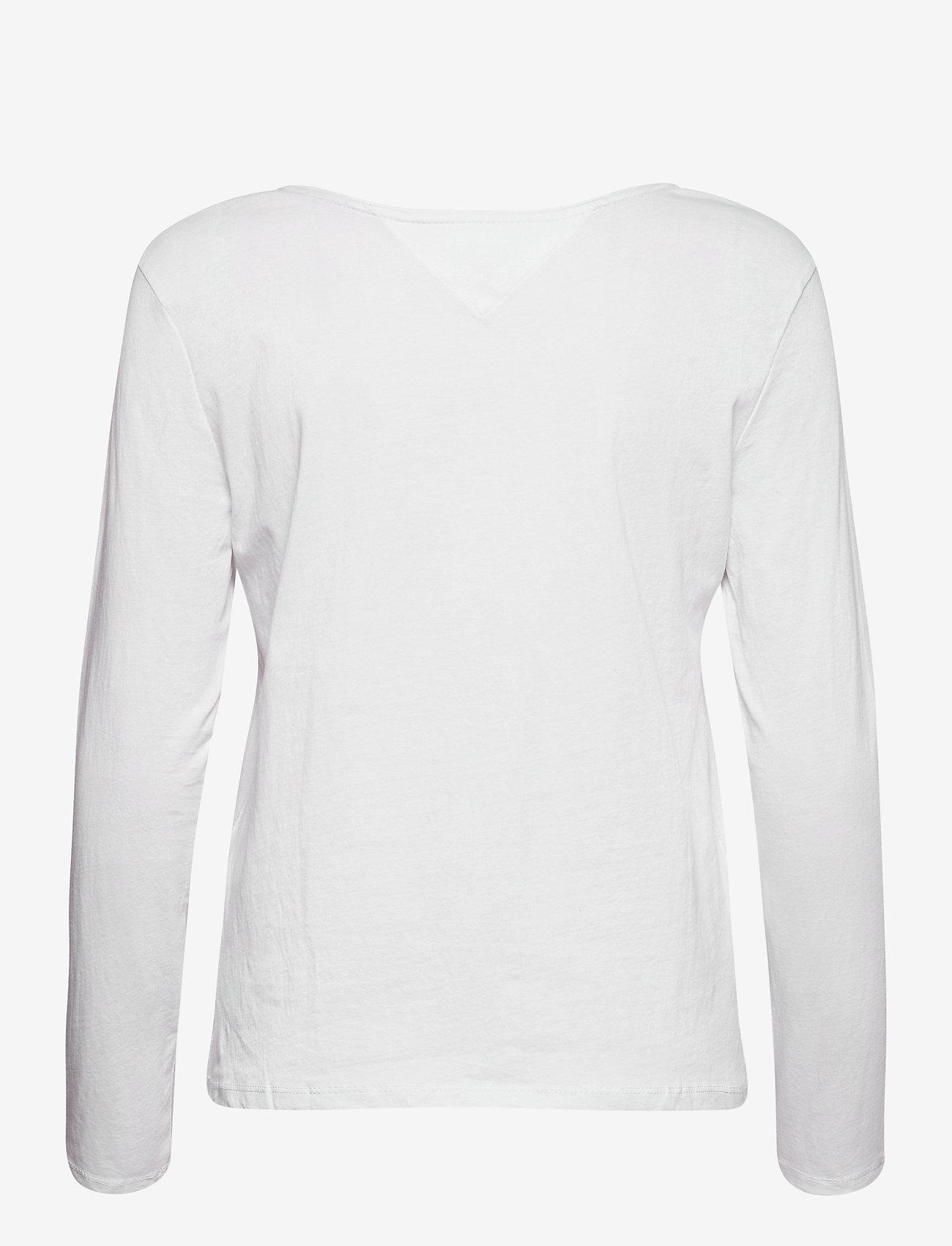 Tommy Jeans - TJW JERSEY V NECK LONGSLEEVE - long-sleeved tops - white - 1