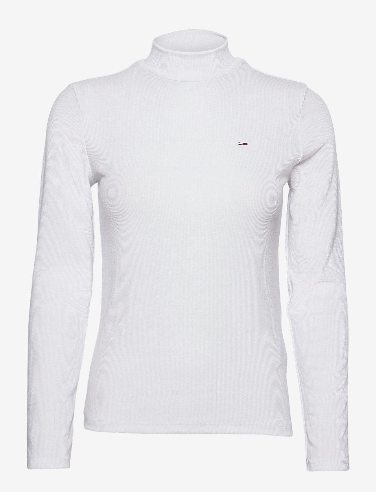 Tommy Jeans - TJW RIB MOCK NECK LONGSLEEVE - long-sleeved tops - white - 0