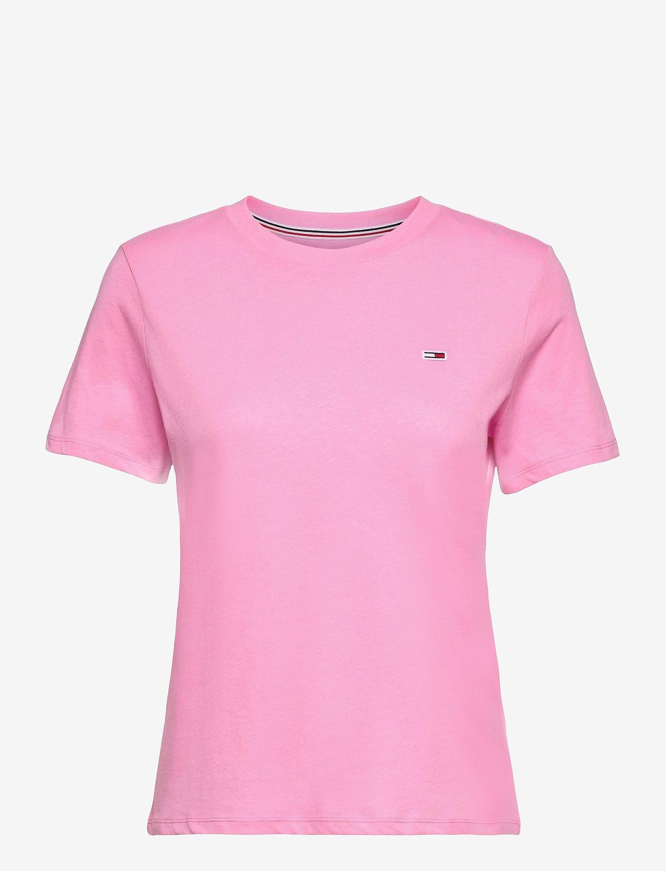 Tommy Jeans - TJW REGULAR JERSEY C NECK - t-shirts - pink daisy - 0