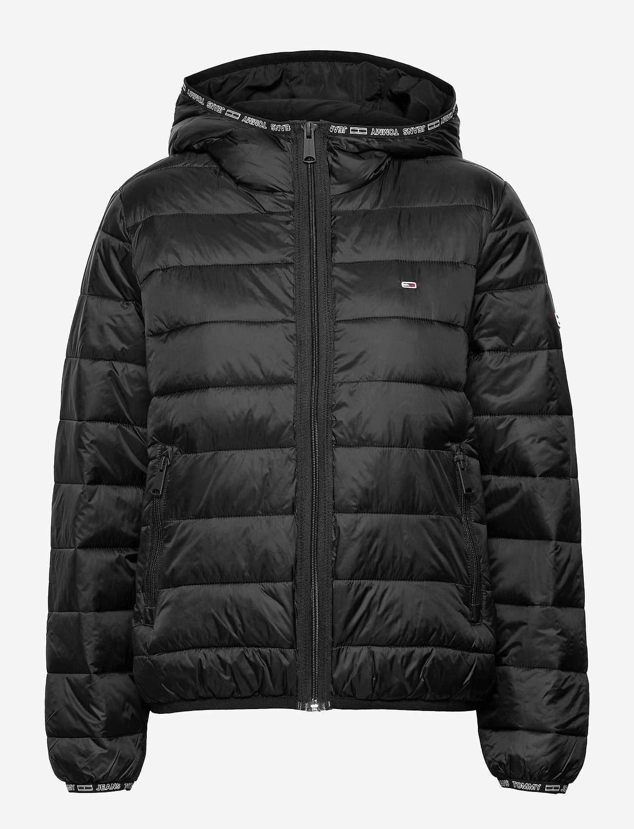 Tommy Jeans - TJW QUILTED TAPE HOODED JACKET - winter jackets - black - 0