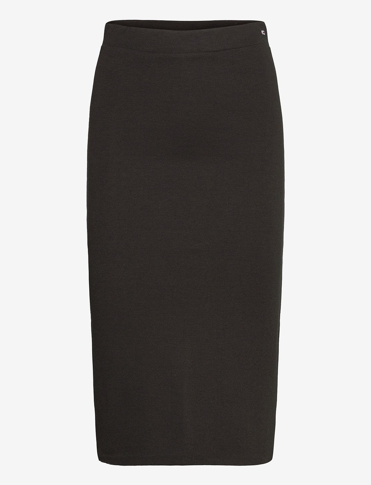 Tommy Jeans - TJW BODYCON TAPE DETAIL SKIRT - midi kjolar - black - 0