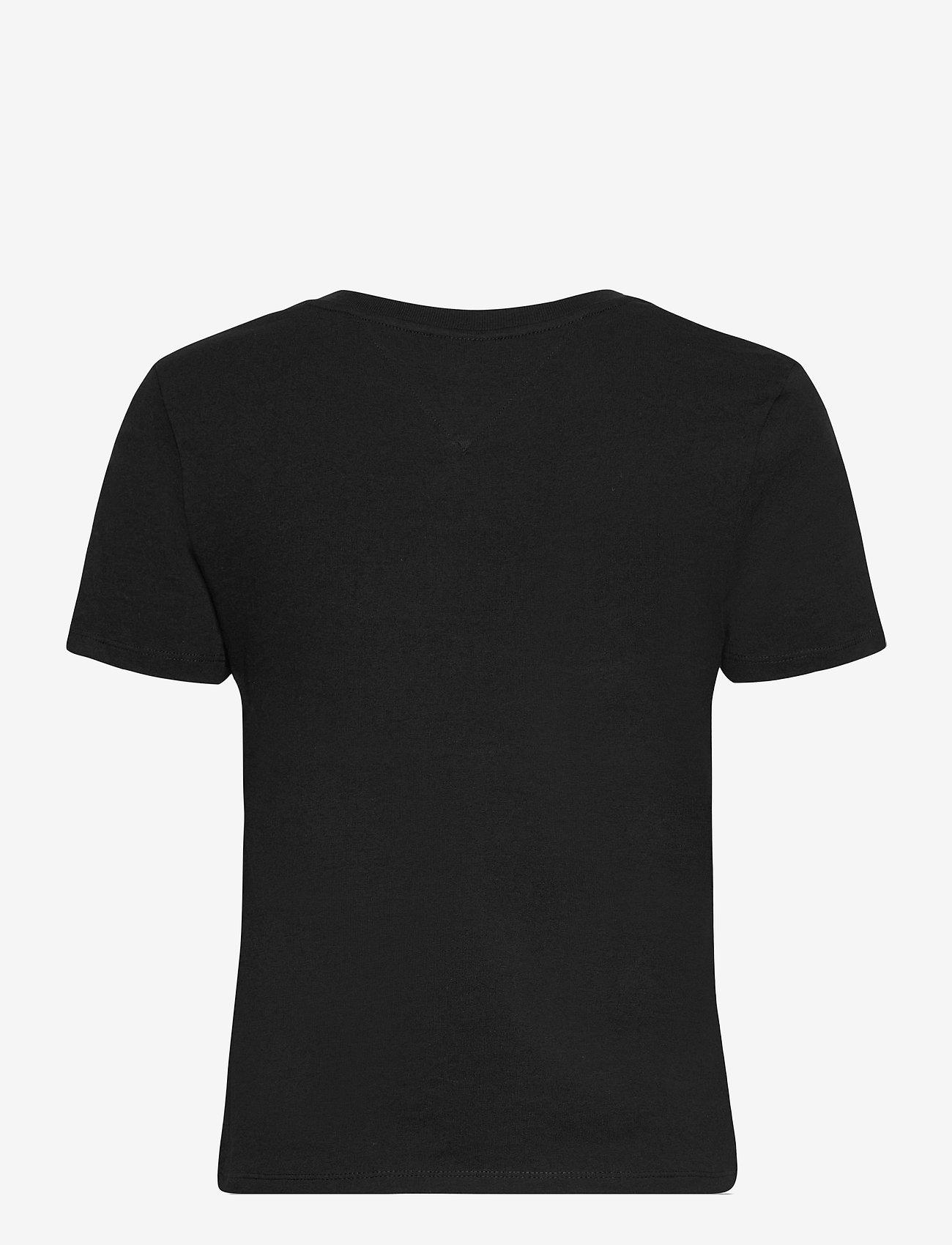 Tommy Jeans - TJW REGULAR LOGO FLAG TEE - t-shirts - black - 1