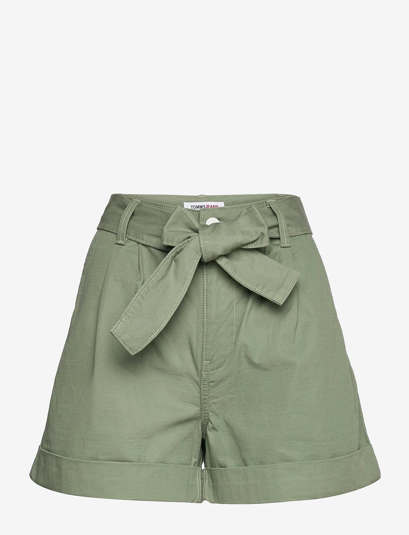 Tommy Jeans - TJW MOM BELTED SHORT - paper bag shorts - desert olive - 0