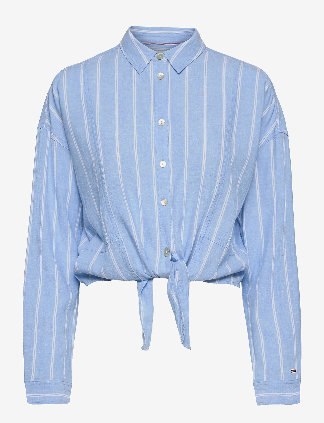 Tommy Jeans - TJW RELAXED FRONT KNOT SHIRT - långärmade skjortor - moderate blue / stripe - 0