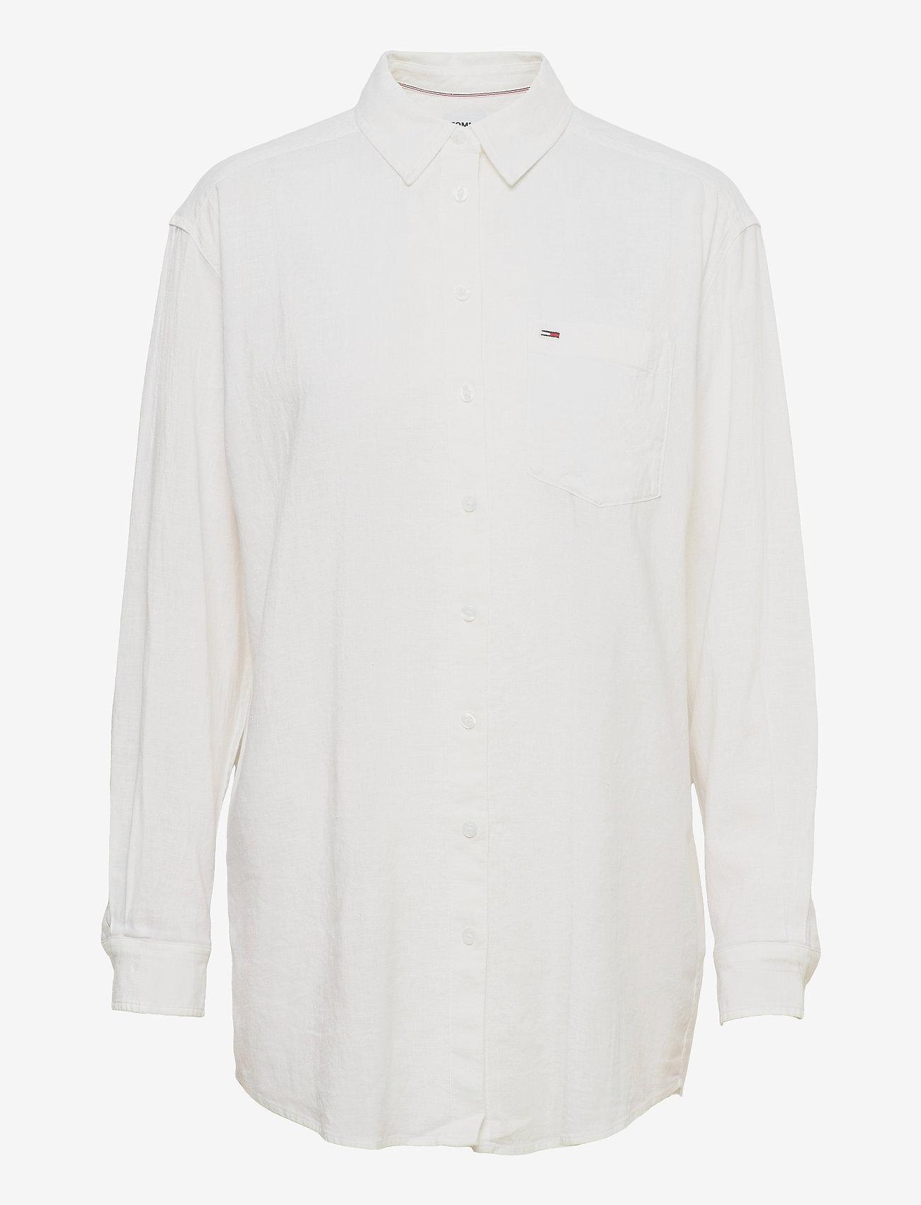 Tommy Jeans - TJW RELAXED LONG  SHIRT - långärmade skjortor - white - 0