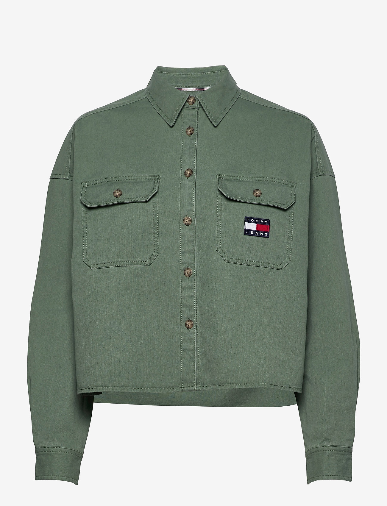 Tommy Jeans - TJW CROPPED UTILITY SHIRT - kleding - desert olive - 0