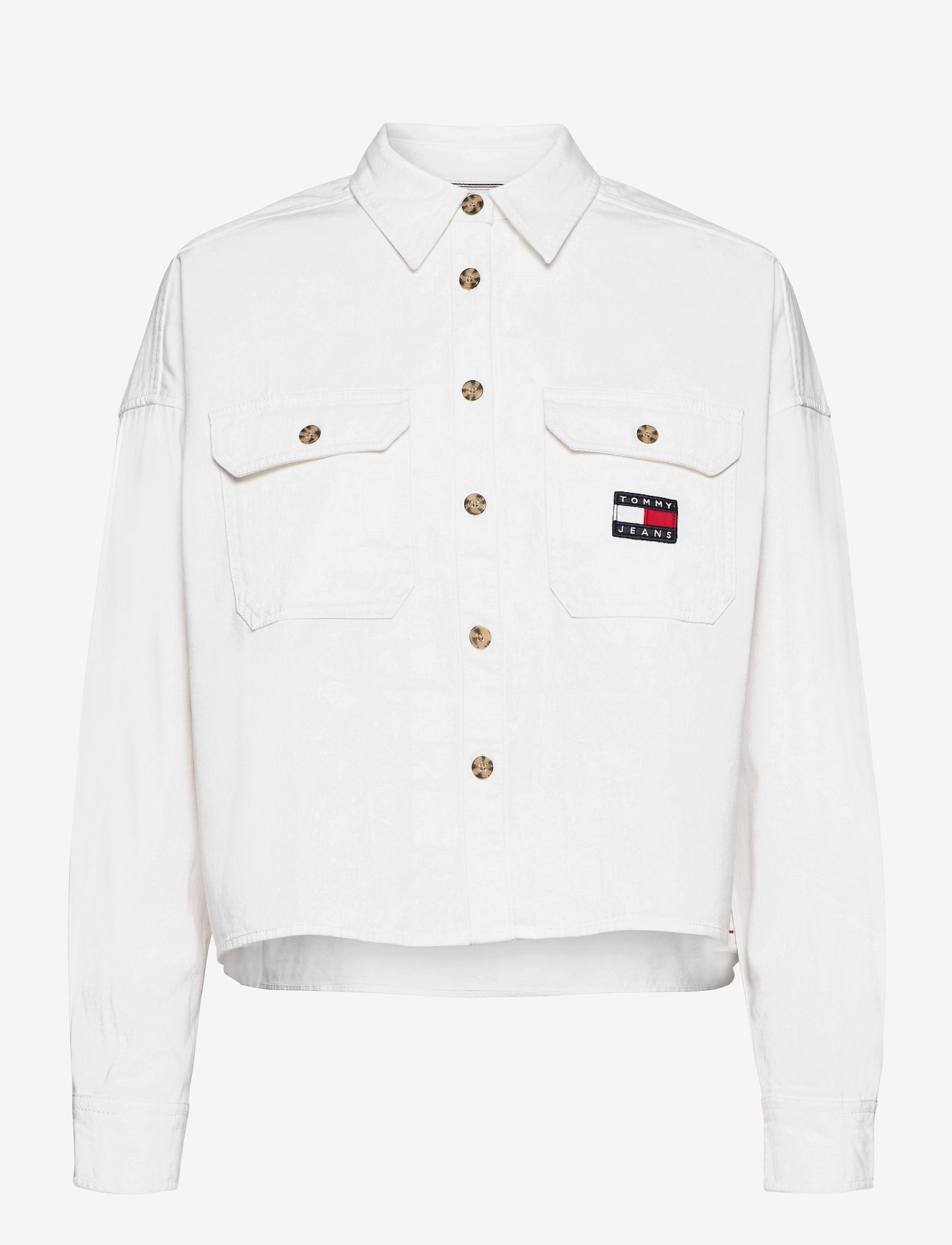 Tommy Jeans - TJW CROPPED UTILITY SHIRT - kläder - white - 0