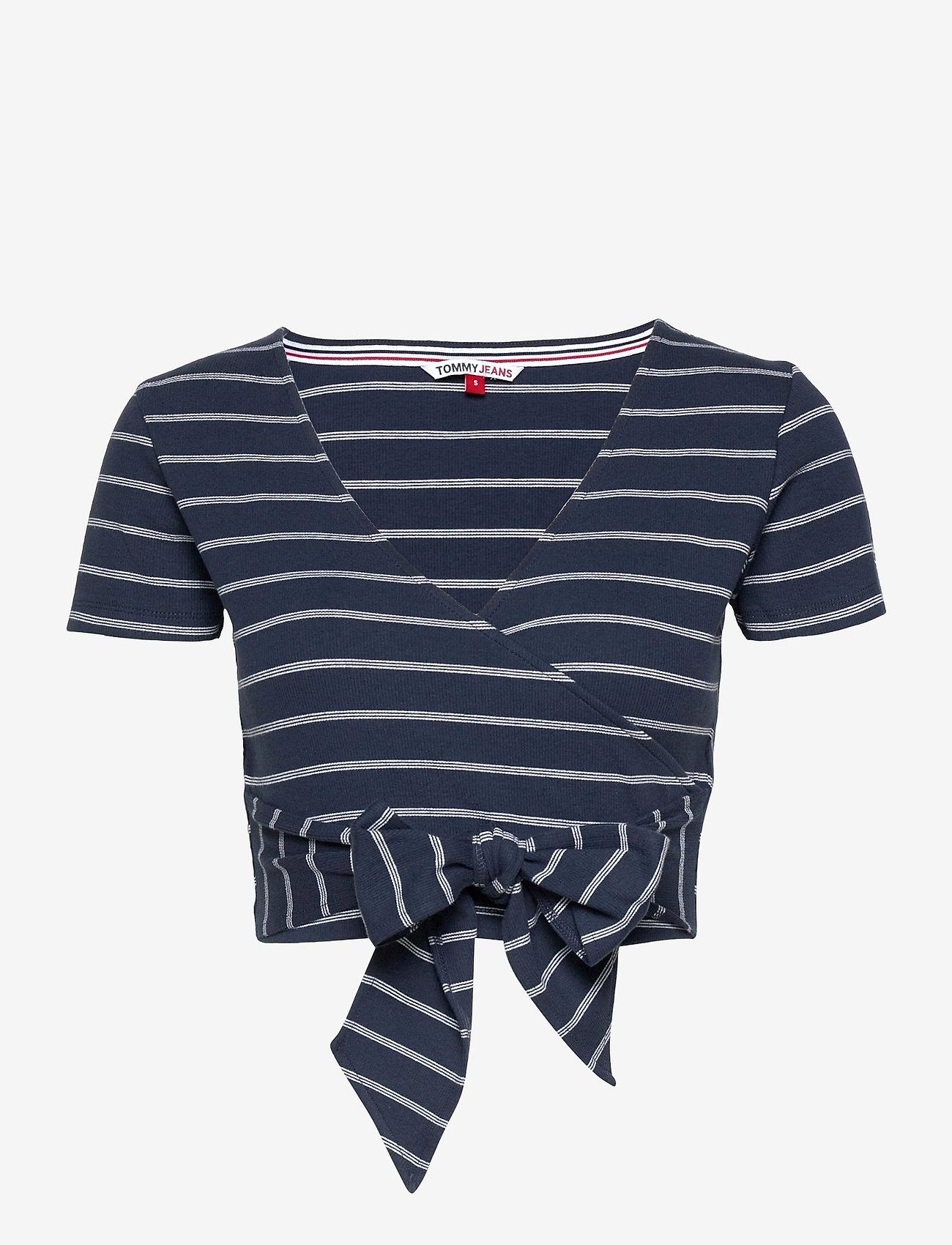 Tommy Jeans - TJW STRIPED WRAP TOP - crop tops - twilight navy / white stripe - 0