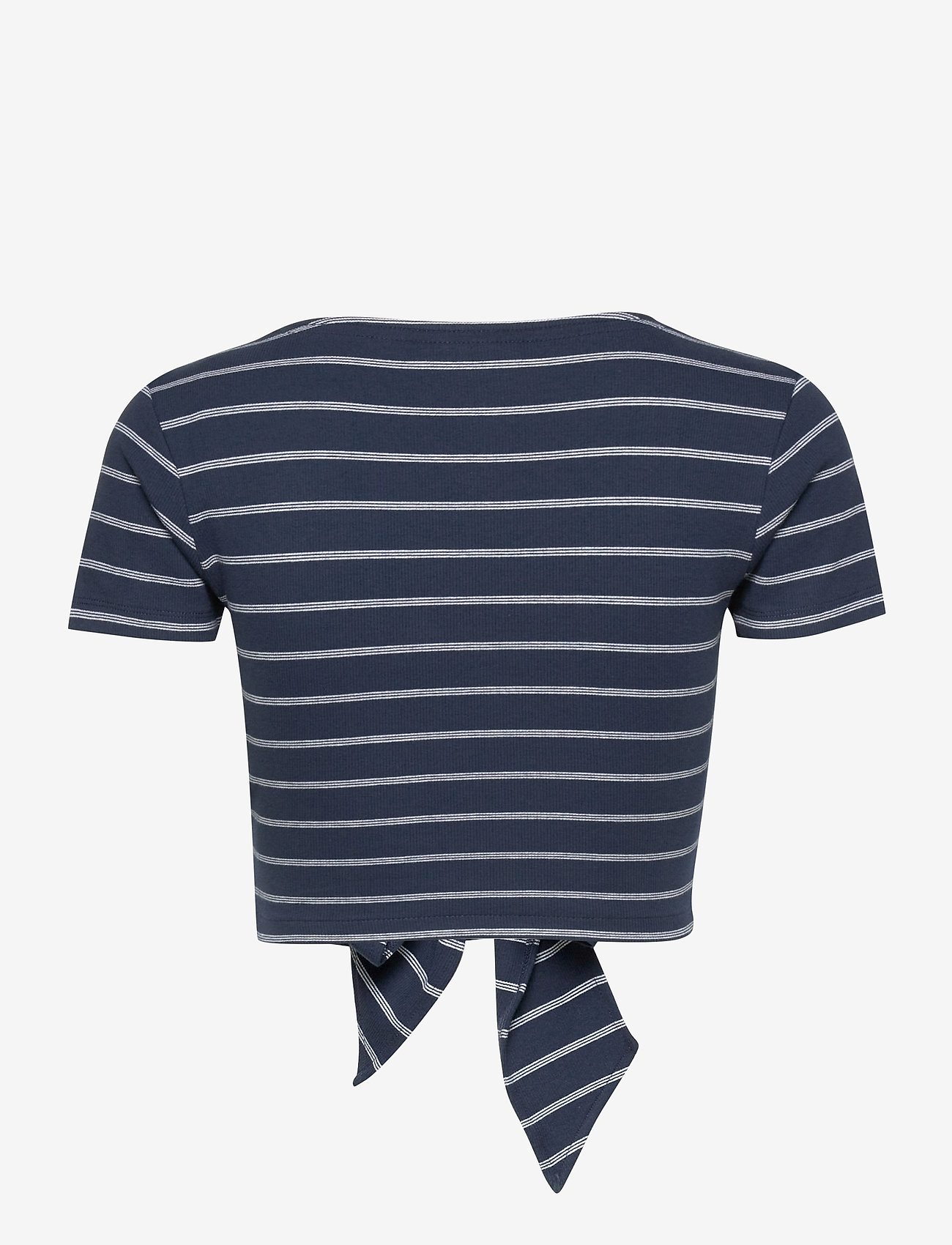 Tommy Jeans - TJW STRIPED WRAP TOP - crop tops - twilight navy / white stripe - 1