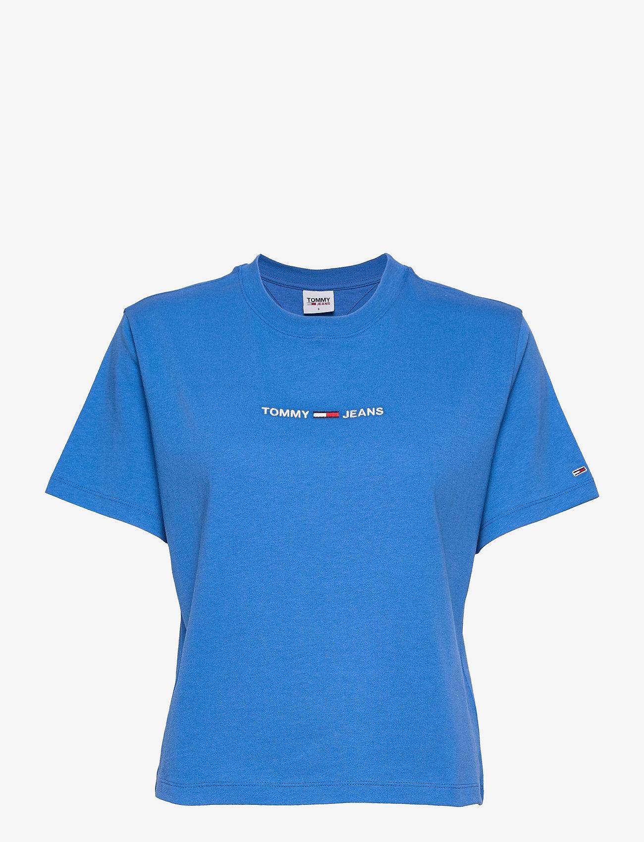Tommy Jeans - TJW BXY CROP LINEAR LOGO TEE - crop tops - gulf coast blue - 0