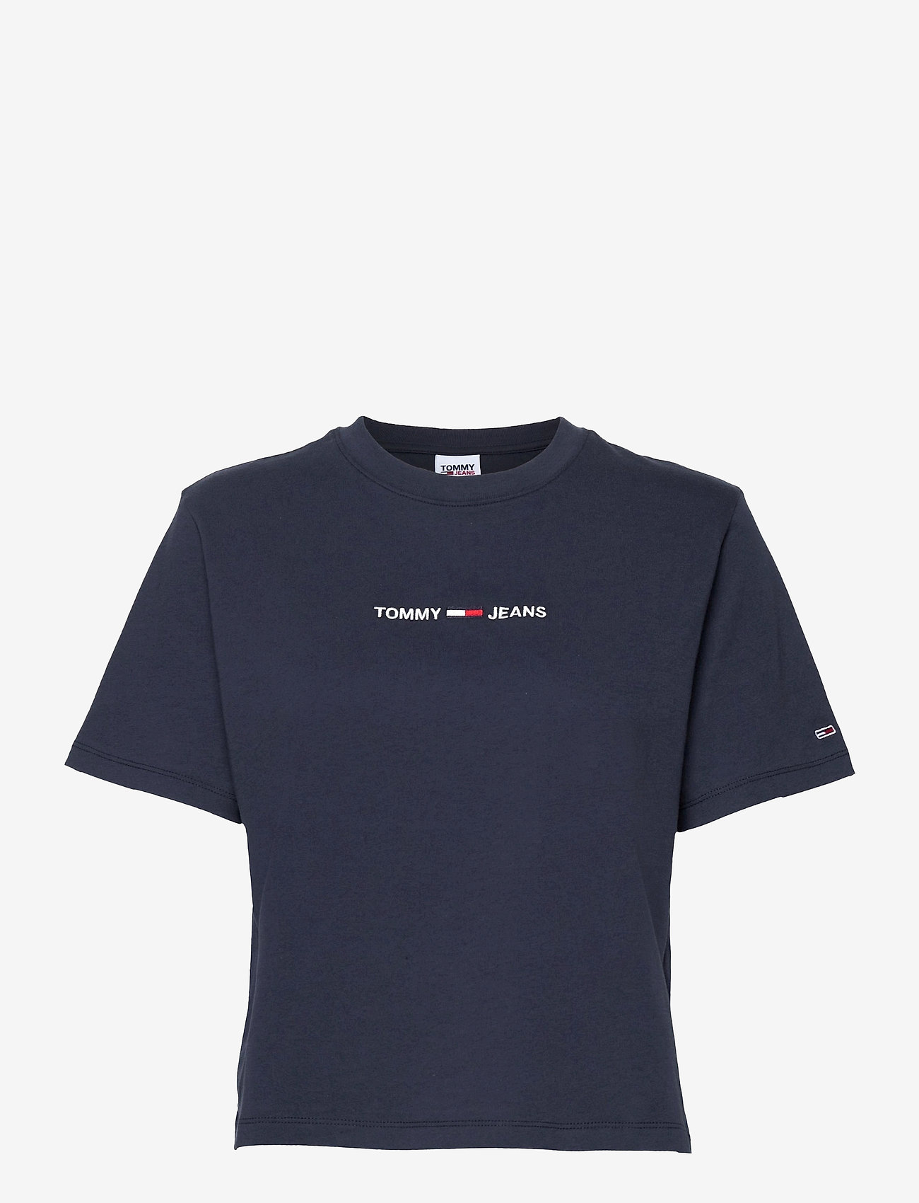 Tommy Jeans - TJW BXY CROP LINEAR LOGO TEE - crop tops - twilight navy - 0