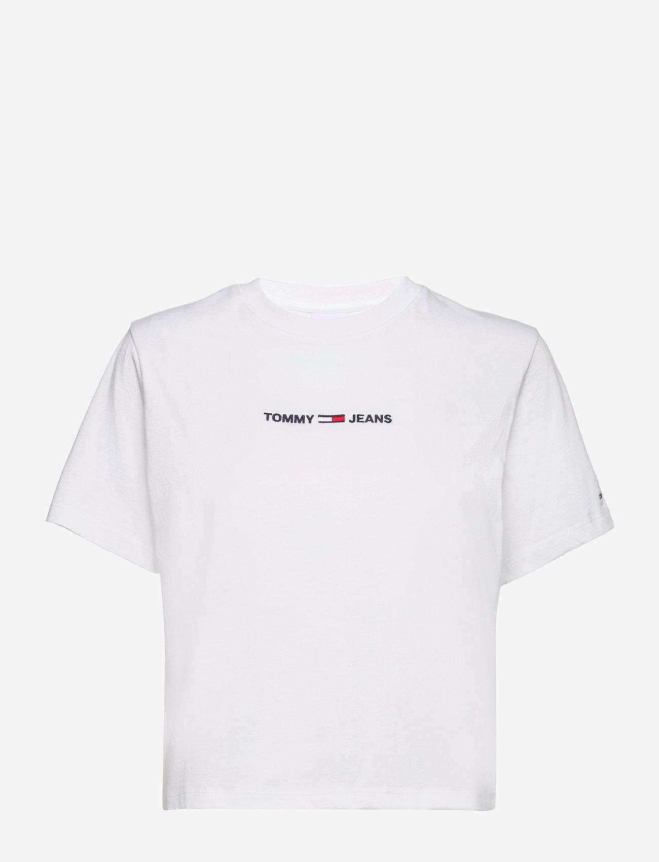 Tommy Jeans - TJW BXY CROP LINEAR LOGO TEE - crop tops - white - 0