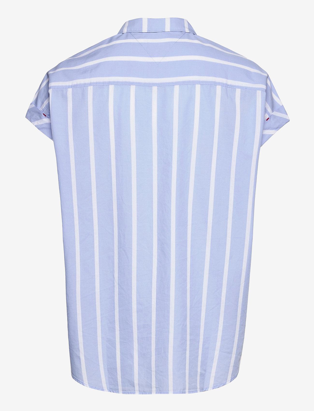 Tommy Jeans - TJW RELAXED STRIPE SHIRT SS - kortärmade skjortor - moderate blue / stripe - 1