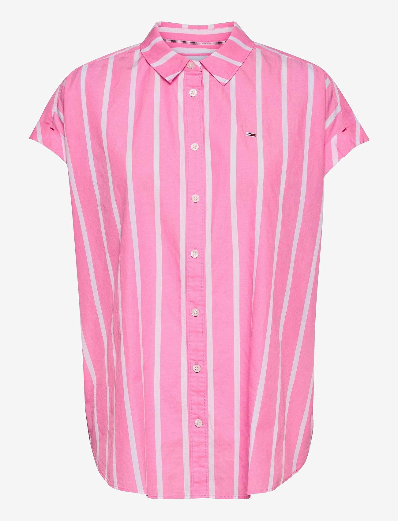 Tommy Jeans - TJW RELAXED STRIPE SHIRT SS - kortärmade skjortor - pink daisy / white - 0