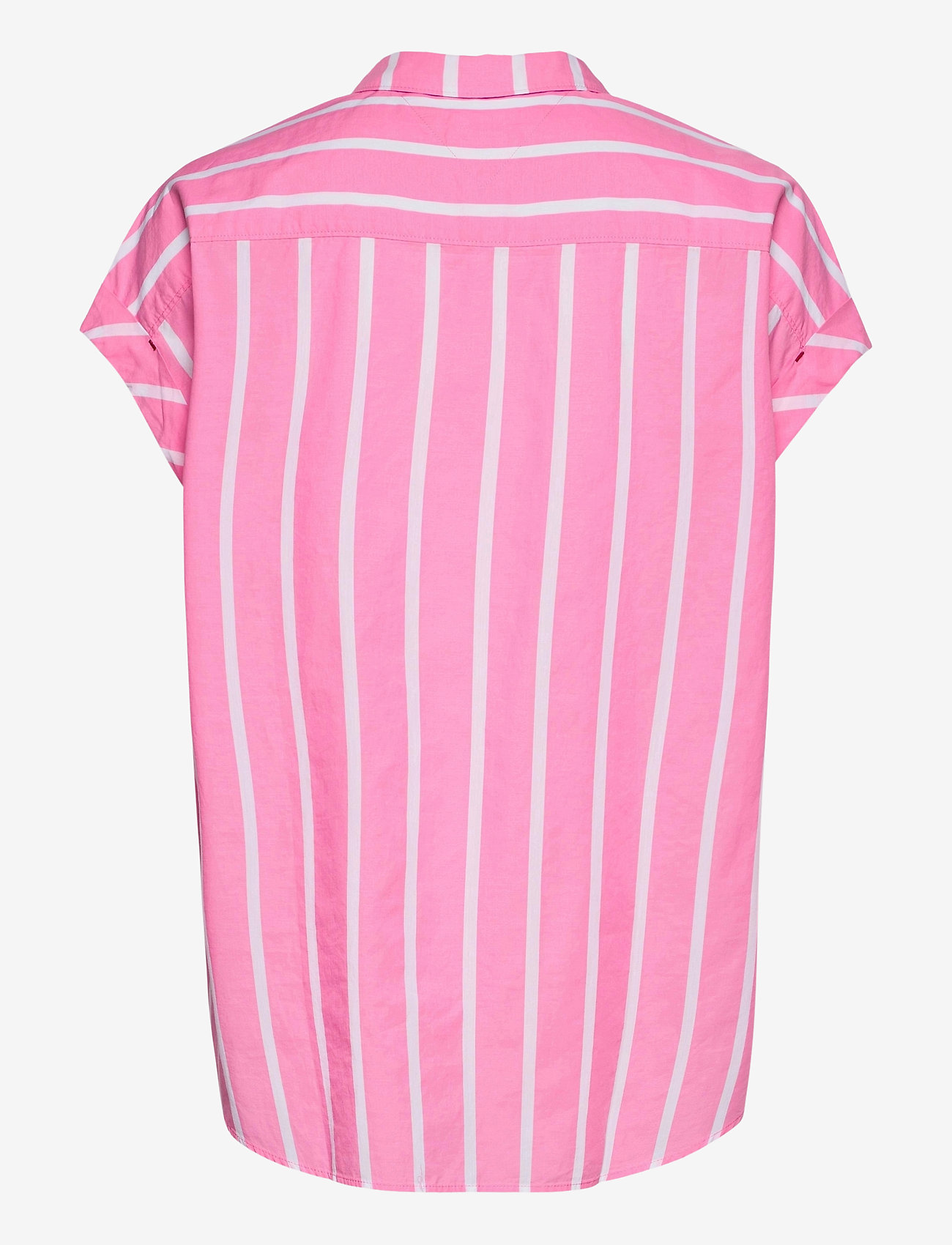 Tommy Jeans - TJW RELAXED STRIPE SHIRT SS - kortärmade skjortor - pink daisy / white - 1