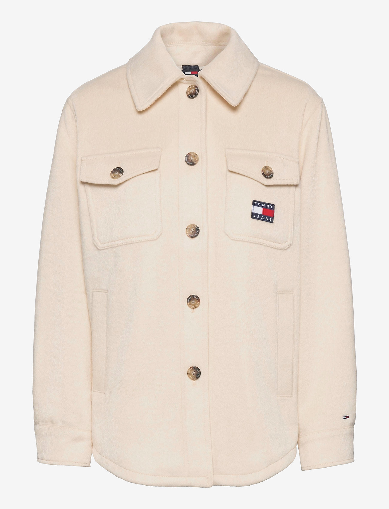 Tommy Jeans - TJW FRONT POCKET BADGE SHACKET - overshirts - sugarcane - 0