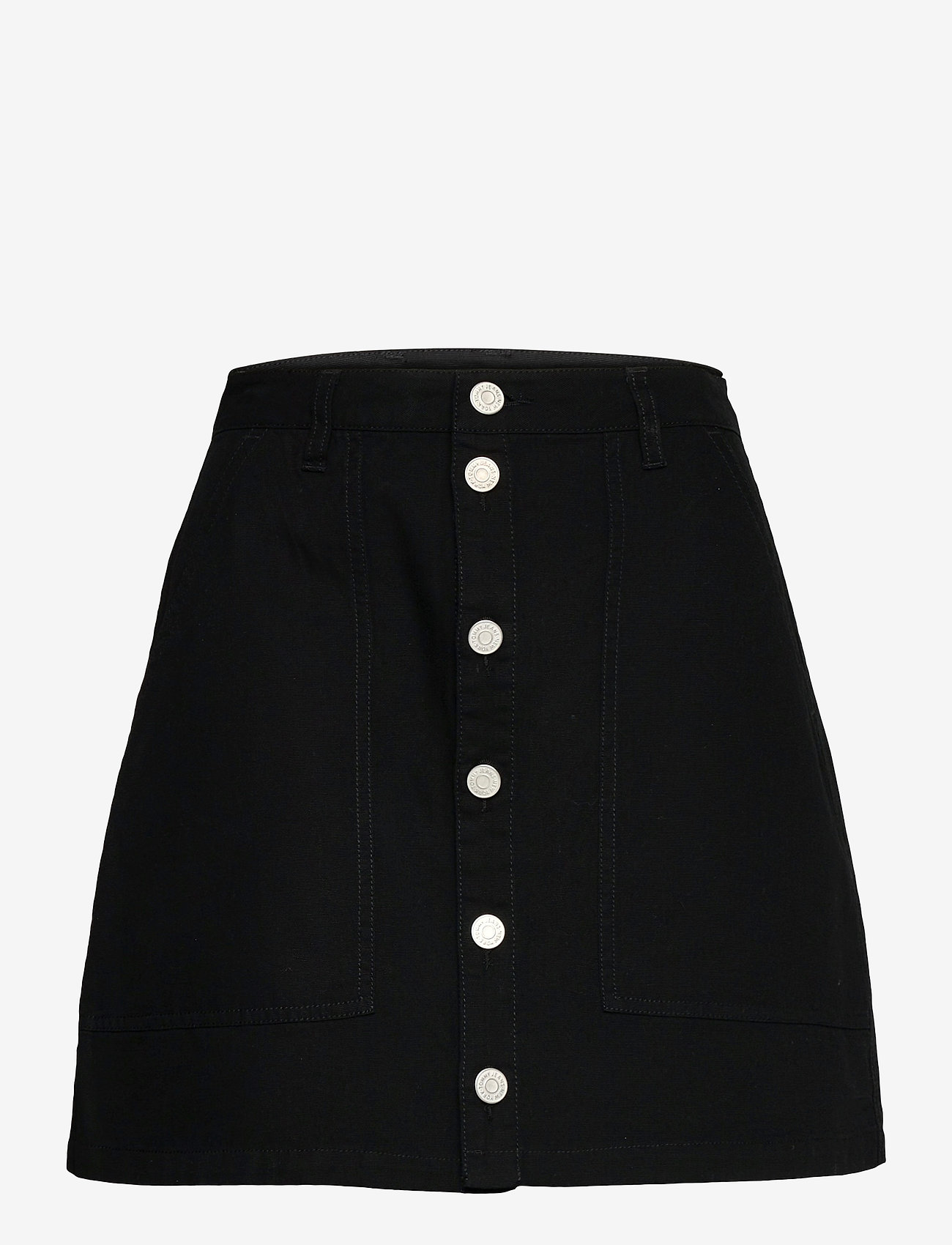 Tommy Jeans - TJW BADGE BUTTON THROUGH SKIRT - midi skirts - black - 0