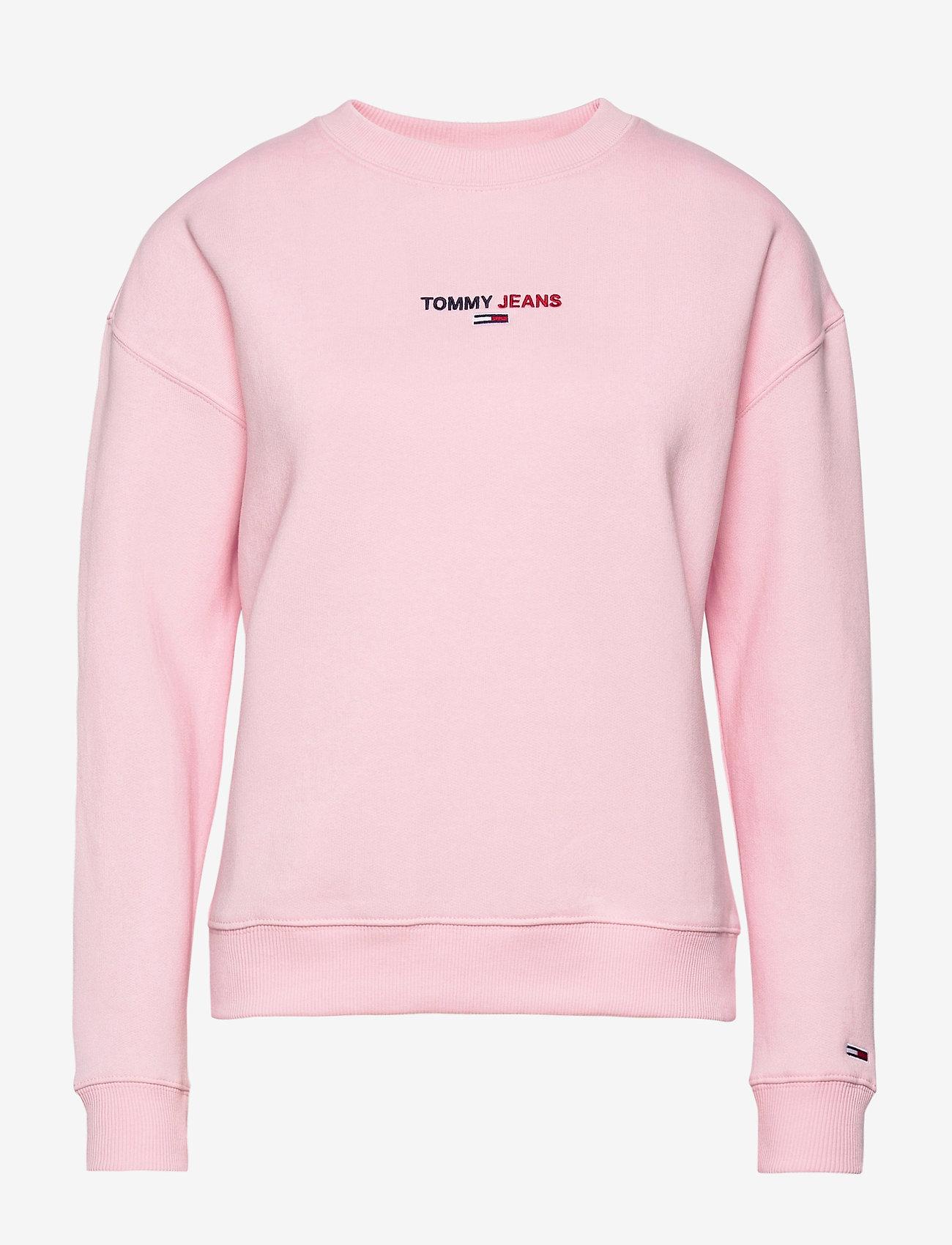 Tommy Jeans - TJW LINEAR CREW NECK - sweatshirts - romantic pink - 0