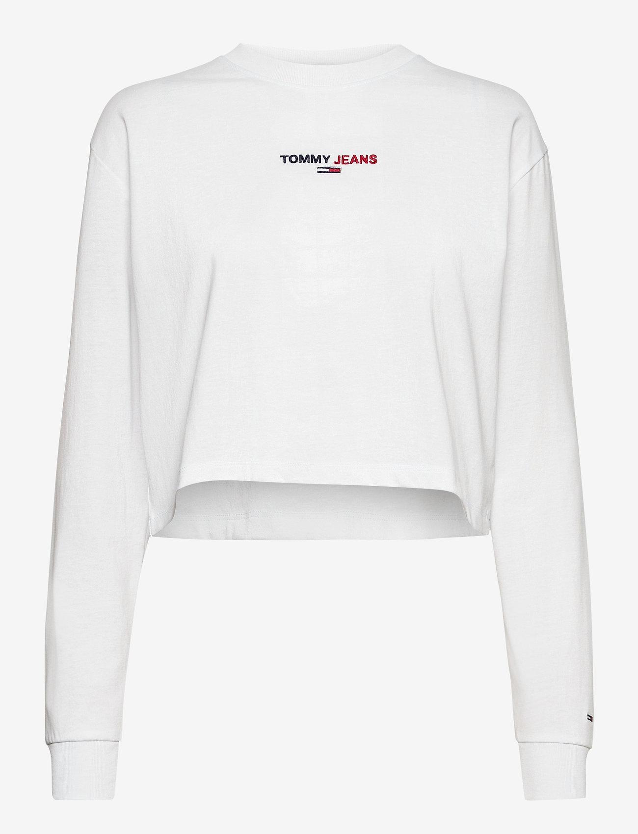 Tommy Jeans - TJW LINEAR LOGO LONGSLEEVE - crop tops - white - 0