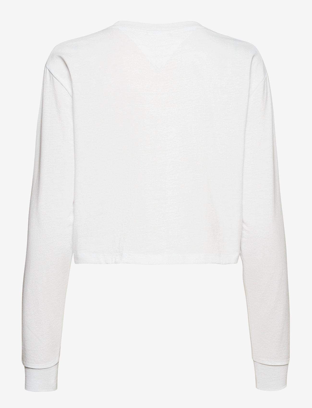 Tommy Jeans - TJW LINEAR LOGO LONGSLEEVE - crop tops - white - 1