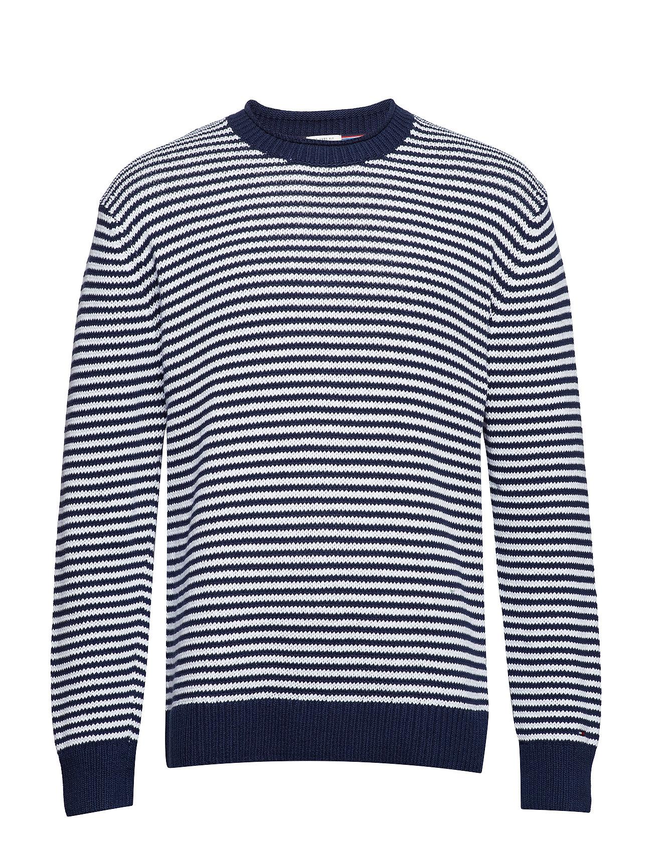 Tommy Jeans TJM FINE STRIPE SWEA - BLACK IRIS / CLASSIC WHITE