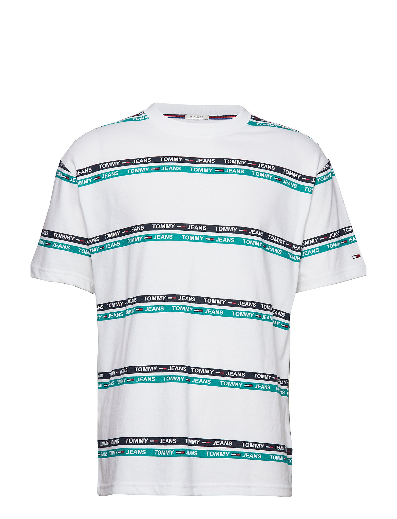 Tommy Jeans TJM SIGNATURE STRIPE - CLASSIC WHITE / DYNASTY GREEN