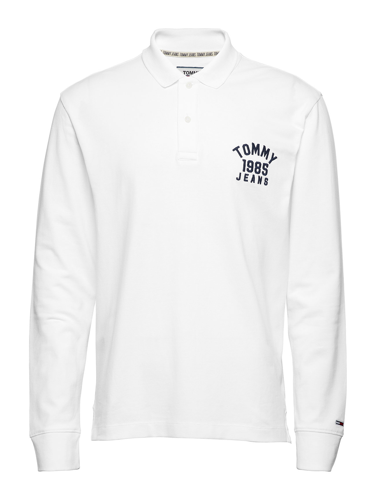 Tommy Jeans TJM CHEST LOGO LONGSLEEVE POLO - CLASSIC WHITE
