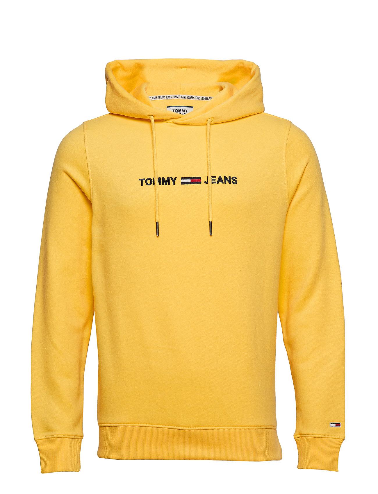 Tommy Jeans TJM STRAIGHT LOGO HOODIE - ASPEN GOLD
