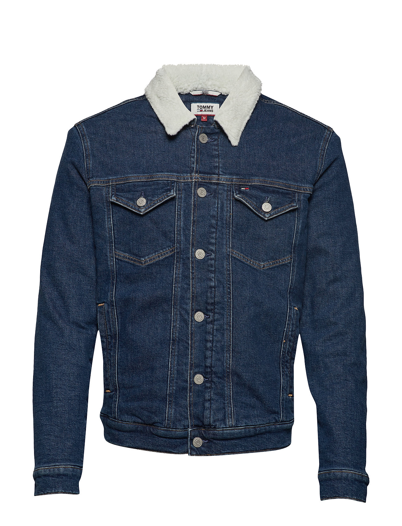 Tommy Jeans REGULAR SHERPA JACKET PRMB - PIERRE MID BLUE COM