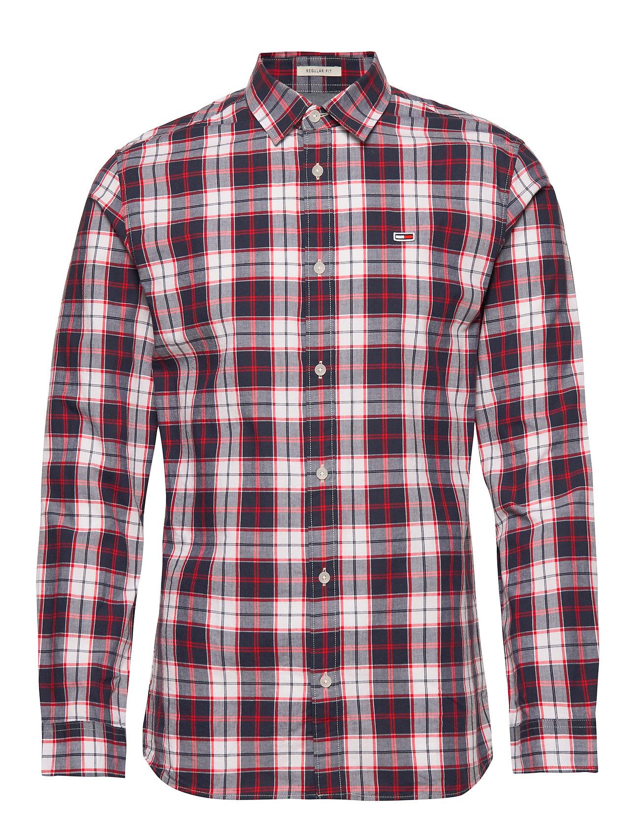 Tommy Jeans TJM POPLIN MULTI CHECK SHIRT - CLASSIC WHITE/MULTI