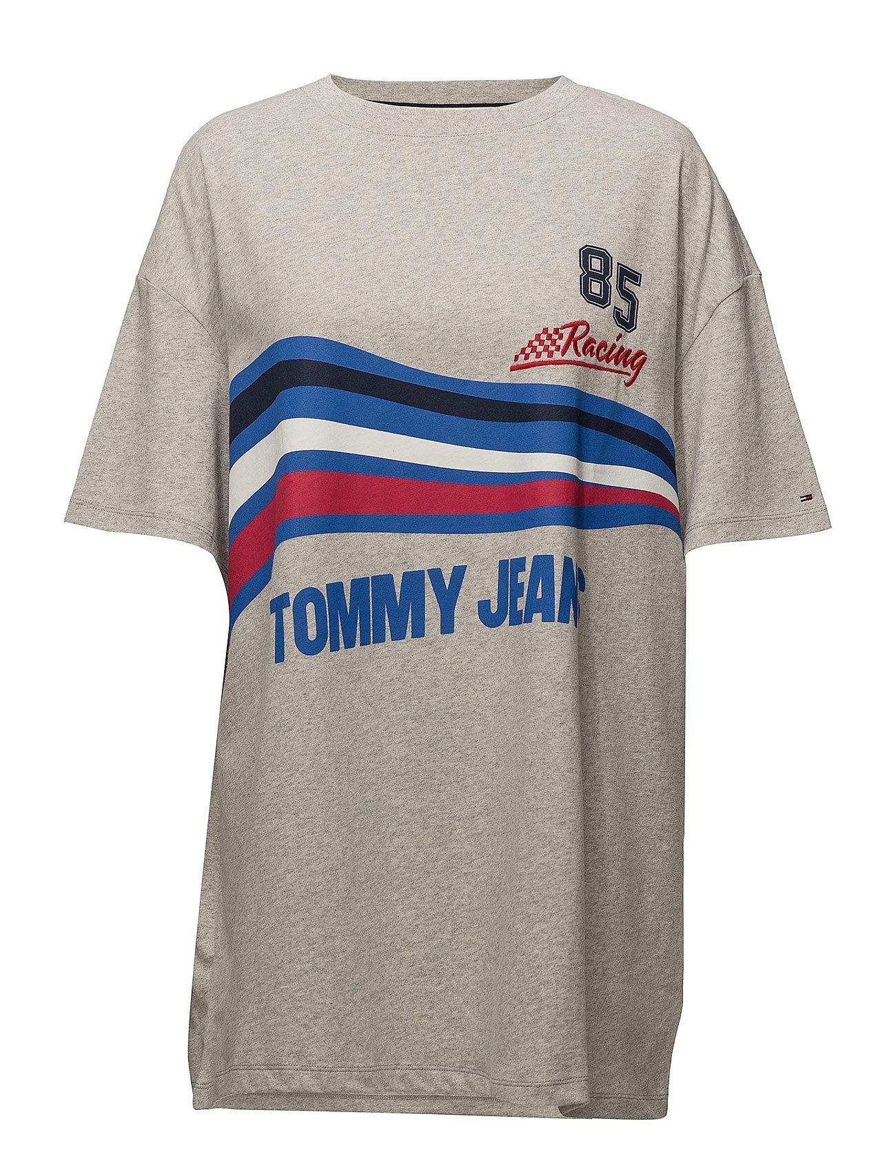 Tommy Jeans TJW LOGO PRINT TEE DRESS - LIGHT GREY HTR