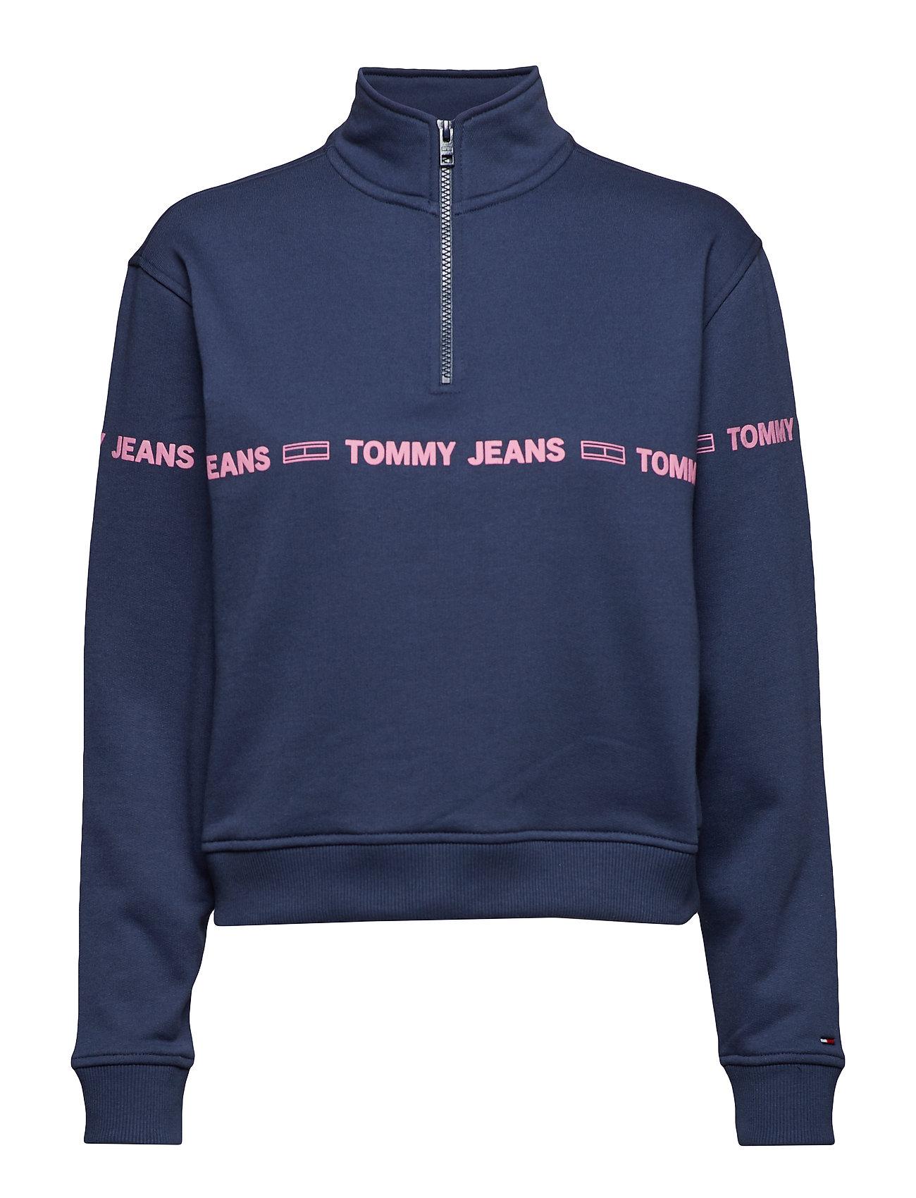 Tommy Jeans TJW MOCK NECK ZIP SW - BLACK IRIS