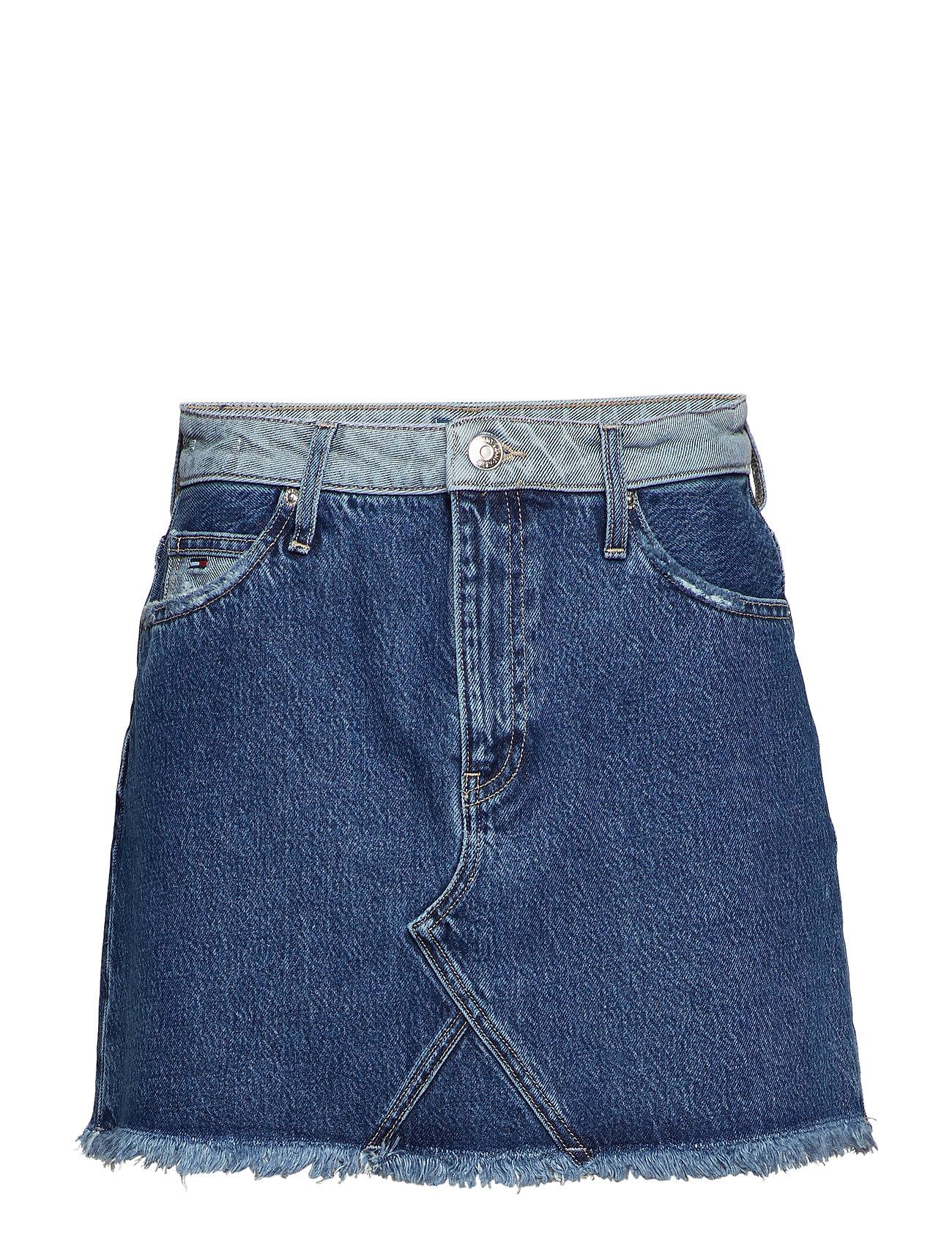 Tommy Jeans SHORT DENIM SKIRT RV - REVERSE MID BLUE RIG
