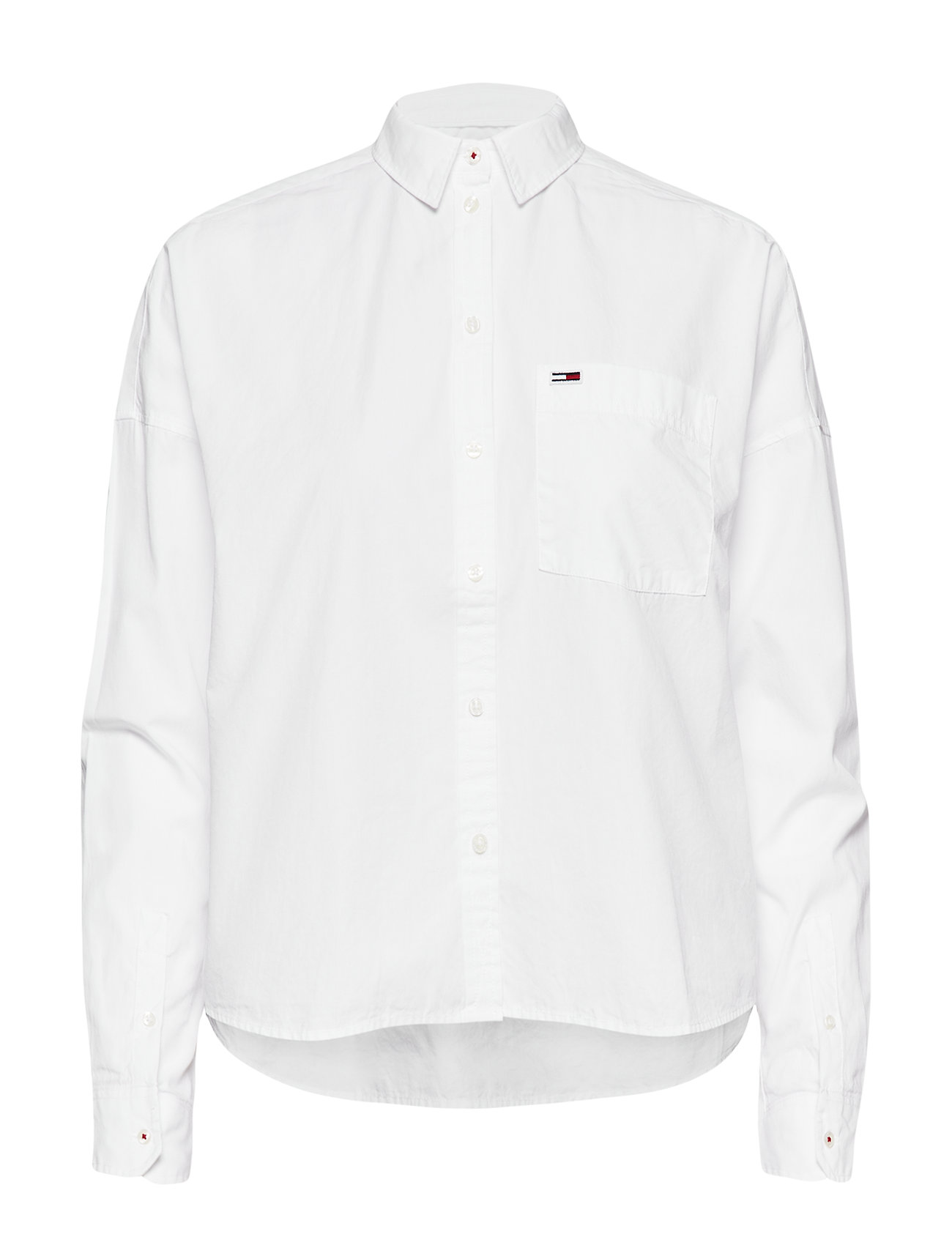 Tommy Jeans TJW CROPPED SOLID SH - CLASSIC WHITE
