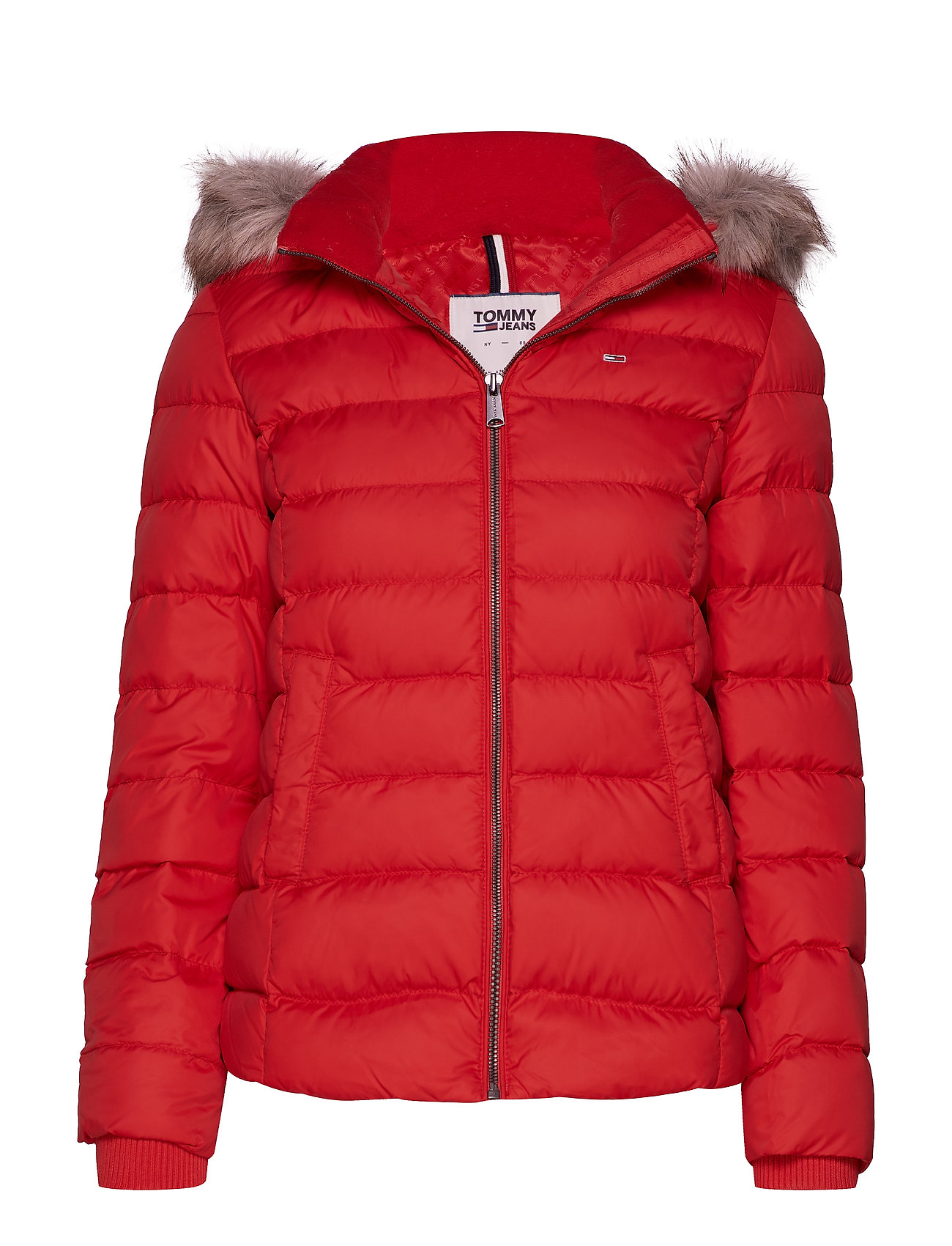 Tommy Jeans TJW ESSENTIAL HOODED - FLAME SCARLET