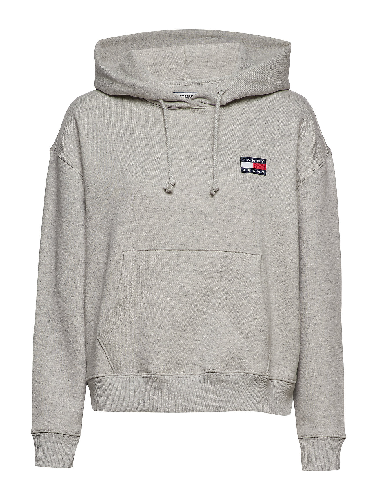 Tommy Jeans TJW TOMMY BADGE HOOD - LT GREY HTR